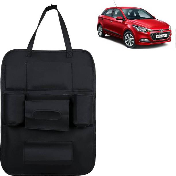 VOCADO PU Leather Car Auto Seat Back Organizer Multi Pocket Travel Storage Bag with Hangers, Tissue Paper and Bottle Holder Black For Elite i20 Car Multi Pocket