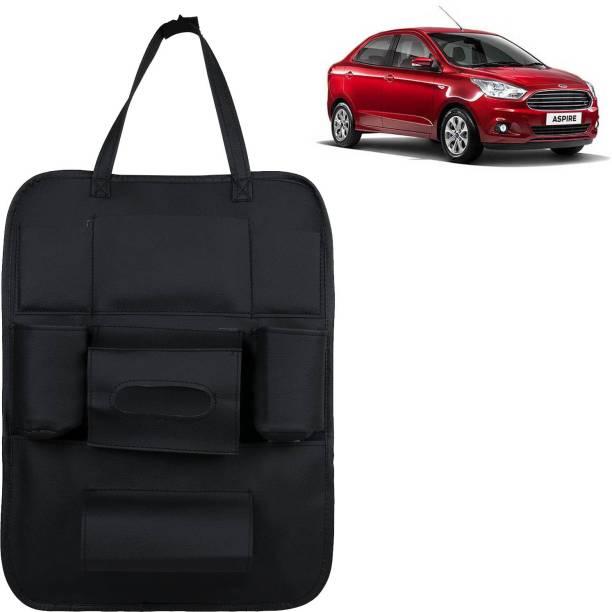 VOCADO PU Leather Car Auto Seat Back Organizer Multi Pocket Travel Storage Bag with Hangers, Tissue Paper and Bottle Holder Black For Figo Aspire Car Multi Pocket