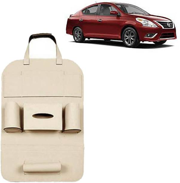 VOCADO PU Leather Car Auto Seat Back Organizer Multi Pocket Travel Storage Bag with Hangers, Tissue Paper and Bottle Holder Beige For Versa Car Multi Pocket