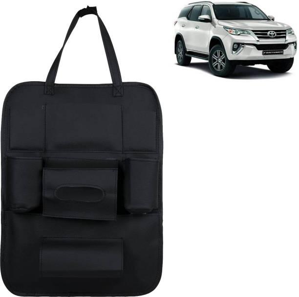 VOCADO PU Leather Car Auto Seat Back Organizer Multi Pocket Travel Storage Bag with Hangers, Tissue Paper and Bottle Holder Black For Fortuner Car Multi Pocket