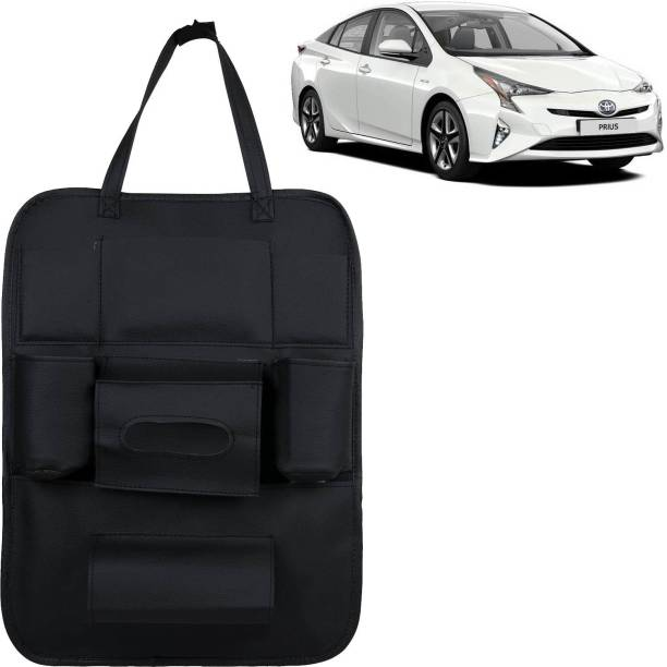 VOCADO PU Leather Car Auto Seat Back Organizer Multi Pocket Travel Storage Bag with Hangers, Tissue Paper and Bottle Holder Black For Prius Car Multi Pocket