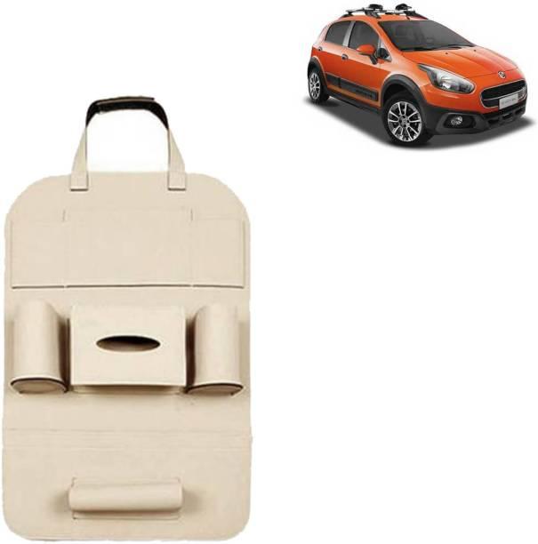 VOCADO PU Leather Car Auto Seat Back Organizer Multi Pocket Travel Storage Bag with Hangers, Tissue Paper and Bottle Holder Beige For Avventura Car Multi Pocket