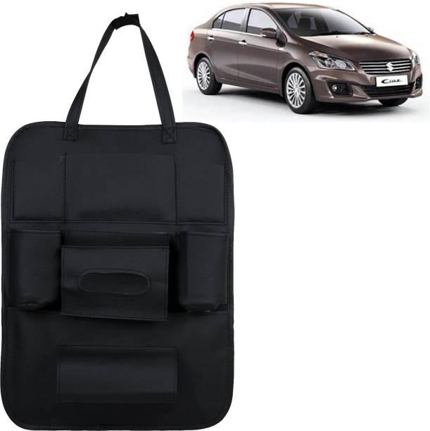 VOCADO PU Leather Car Auto Seat Back Organizer Multi Pocket Travel Storage Bag with Hangers, Tissue Paper and Bottle Holder Black For Ciaz Car Multi Pocket