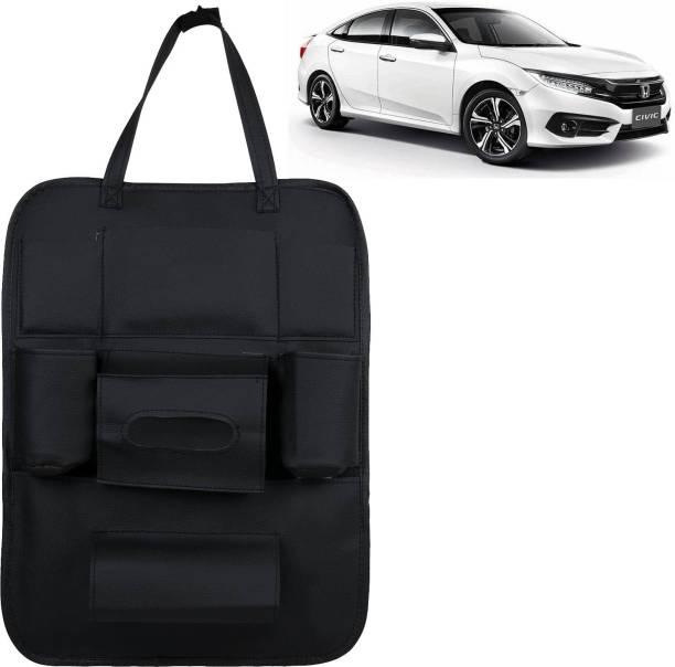 VOCADO PU Leather Car Auto Seat Back Organizer Multi Pocket Travel Storage Bag with Hangers, Tissue Paper and Bottle Holder Black For Civic Car Multi Pocket