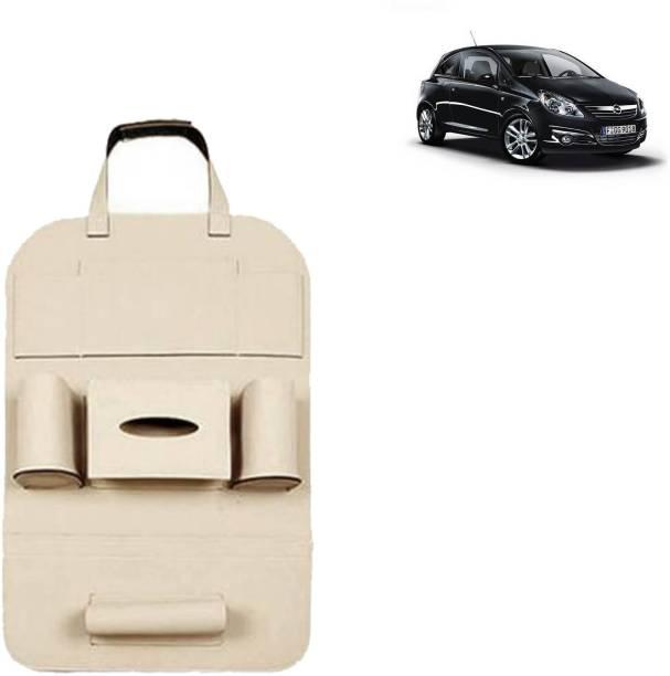 VOCADO PU Leather Car Auto Seat Back Organizer Multi Pocket Travel Storage Bag with Hangers, Tissue Paper and Bottle Holder Beige For Corsa Car Multi Pocket