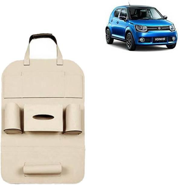 VOCADO PU Leather Car Auto Seat Back Organizer Multi Pocket Travel Storage Bag with Hangers, Tissue Paper and Bottle Holder Beige For Ignis Car Multi Pocket