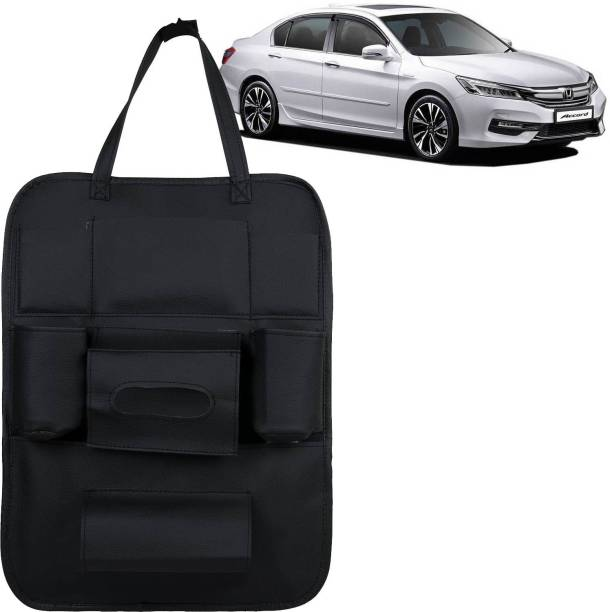 VOCADO PU Leather Car Auto Seat Back Organizer Multi Pocket Travel Storage Bag with Hangers, Tissue Paper and Bottle Holder Black For Accord Car Multi Pocket