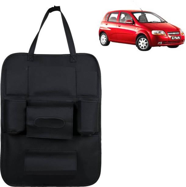 VOCADO PU Leather Car Auto Seat Back Organizer Multi Pocket Travel Storage Bag with Hangers, Tissue Paper and Bottle Holder Black For UVA Car Multi Pocket