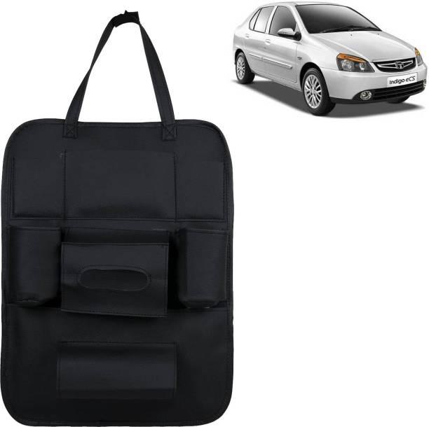 VOCADO PU Leather Car Auto Seat Back Organizer Multi Pocket Travel Storage Bag with Hangers, Tissue Paper and Bottle Holder Black For Indigo CS Car Multi Pocket