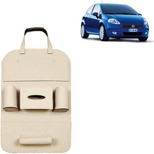 VOCADO PU Leather Car Auto Seat Back Organizer Multi Pocket Travel Storage Bag with Hangers, Tissue Paper and Bottle Holder Beige For Grande Punto Car Multi Pocket