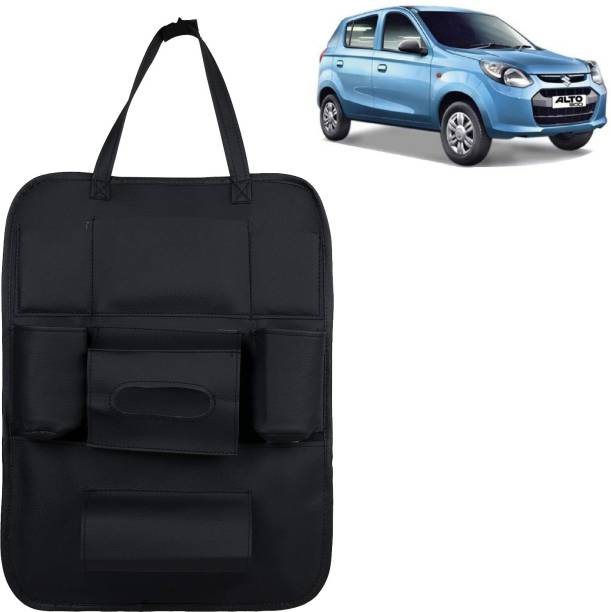 VOCADO PU Leather Car Auto Seat Back Organizer Multi Pocket Travel Storage Bag with Hangers, Tissue Paper and Bottle Holder Black For 800 Car Multi Pocket