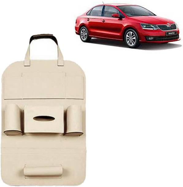 VOCADO PU Leather Car Auto Seat Back Organizer Multi Pocket Travel Storage Bag with Hangers, Tissue Paper and Bottle Holder Beige For Rapid Car Multi Pocket
