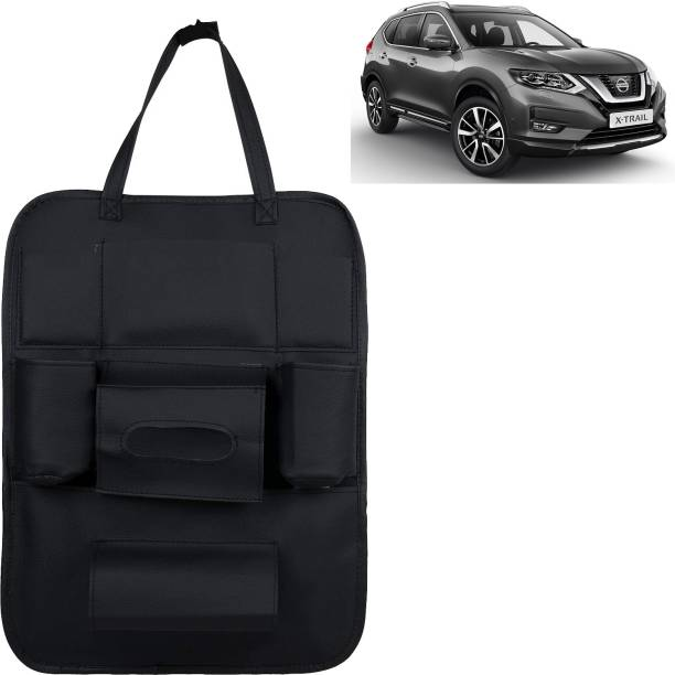VOCADO PU Leather Car Auto Seat Back Organizer Multi Pocket Travel Storage Bag with Hangers, Tissue Paper and Bottle Holder Black For X-Trail Car Multi Pocket