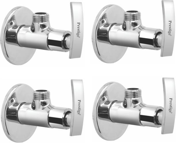 Prestige Passion Angle Cock Brass With Wall Flange (Disc Fitting | Quarter Turn) (Silver)- Pack of 4 Angle Cock Faucet