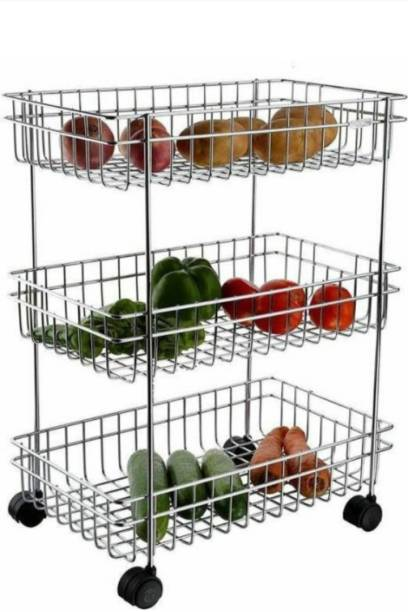 3D METRO SUPER STORE 3 Layer Fruits & Vegetable Trolley Stainless Steel Kitchen Trolley