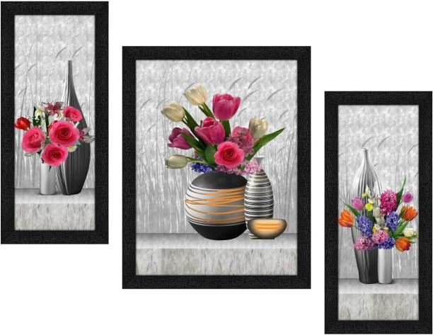 Art Amori Vase Of Flowers 3 Piece Painting with Synthetic Frame Digital Reprint 13.5 inch x 22.5 inch Painting