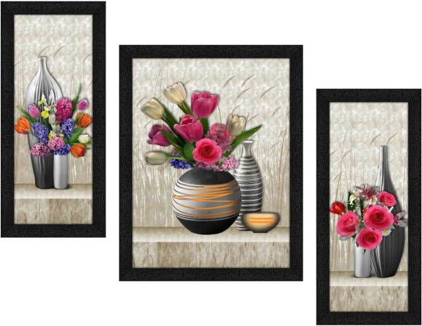 Art Amori Beautiful flower art 3 Piece Painting with Synthetic Frame Digital Reprint 13.5 inch x 22.5 inch Painting