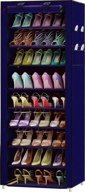 Sasimo 1-Door 9-Shelf Fabric Metal Collapsible Shoe Stand