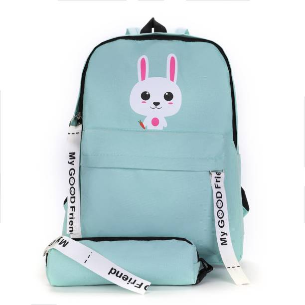 Tinytot Light Green School College Travel Backpack with Pencil Pouch Waterproof School Bag
