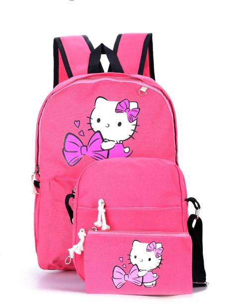 Tinytot Pink School College Travel Backpack with Pencil Pouch (3 Pcs Set) Waterproof School Bag