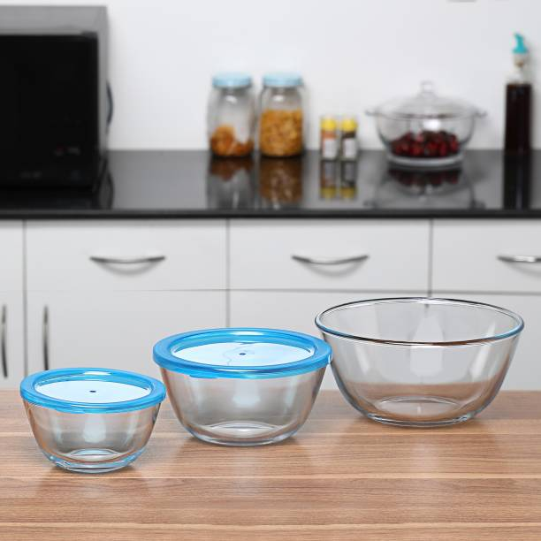 BOROSIL Bowl Storage Container,Mixing Bowl Pack of 3 Glass Bowl Borosilicate Glass Storage Bowl