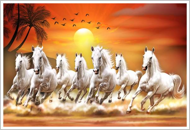 Lucky Seven Horses Running Vastu Paper Poster Paper Print
