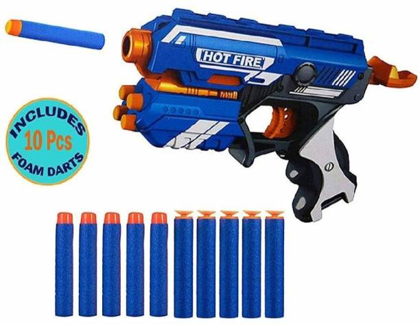 blaze storm Manual Soft Bullet Gun (Multi Color) Toy with 10 Foam Bullets for Kids Guns & Darts