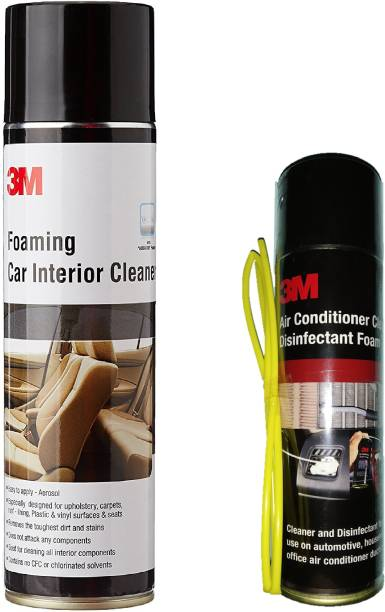 3M 1 Bottle of Foaming Car Interior Cleaner, 1 Bottle of Air Conditioner Cleaner Foam Combo