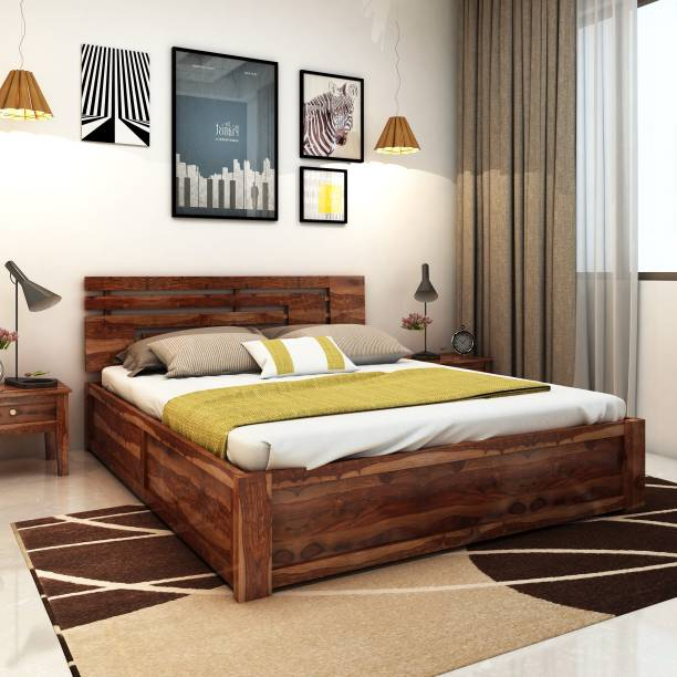 Home Edge Sheesham Wood Solid Wood King Hydraulic Bed