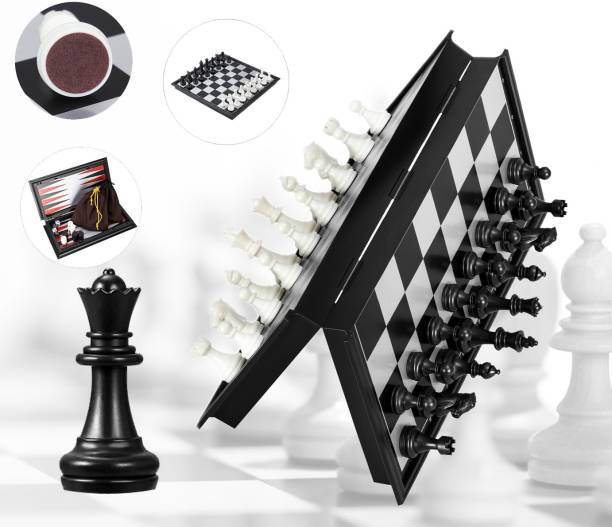 Miss & Chief Magnetic Chess Board Game with folding and storage for travel Strategy & War Games Board Game