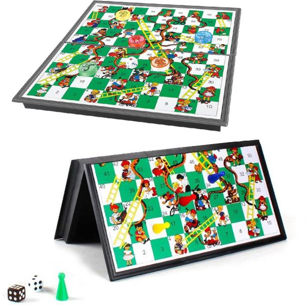 Miss & Chief Magnetic Snake & Ladders Board Game with folding and storage for travel Strategy & War Games Board Game