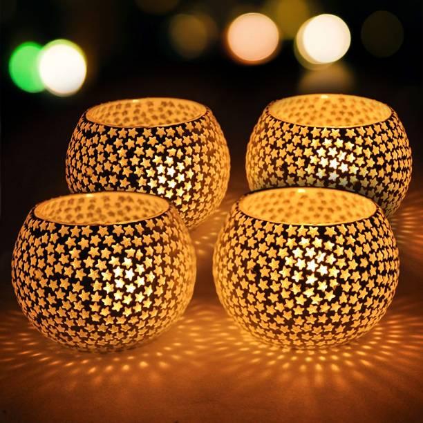 TIED RIBBONS Votive Snowflake Or Star Bisque Tealight Holder Glass Tealight Holder Set