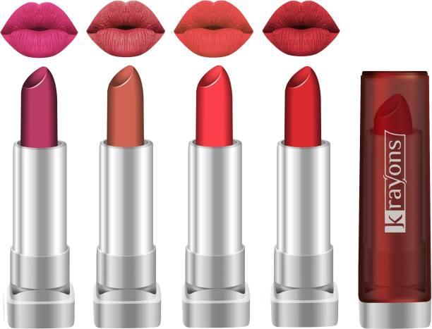 KRAYONS Sheer Matte lipstick Hot & Bold Soft Creamy lipstick, Combo (Pack of 4)