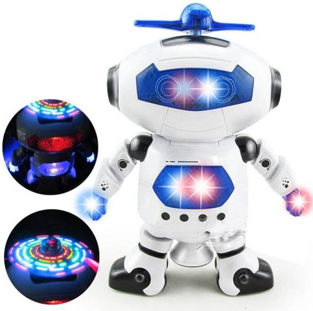 FIDDLERZ Electric Smart Space Walking Dancing Robot with Music & 3D Lights & 360 Rotation (Multicolor)
