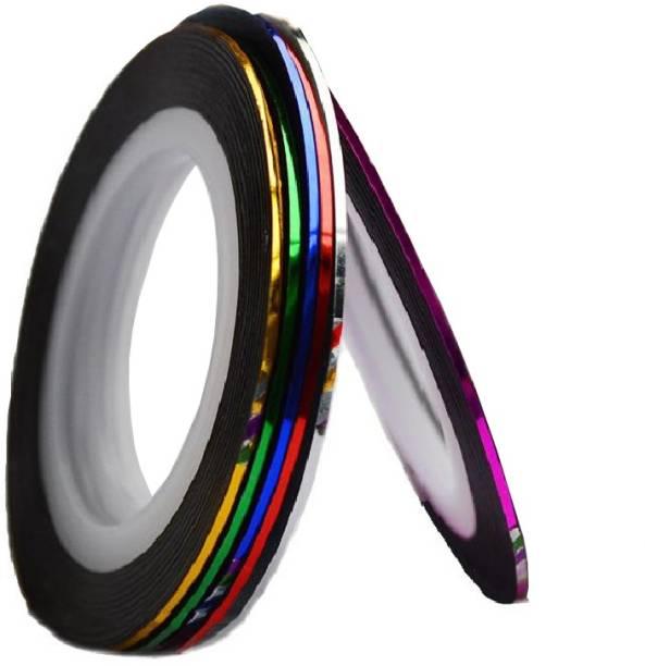 AuraSkin 6 X Mixed Color Looks United Nail Art Striping Rolls Tape Nail Sticker