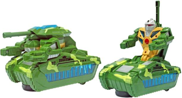 Miss & Chief Bump n Go Military Transformer Tank with Sound and Lights Toy for Kids