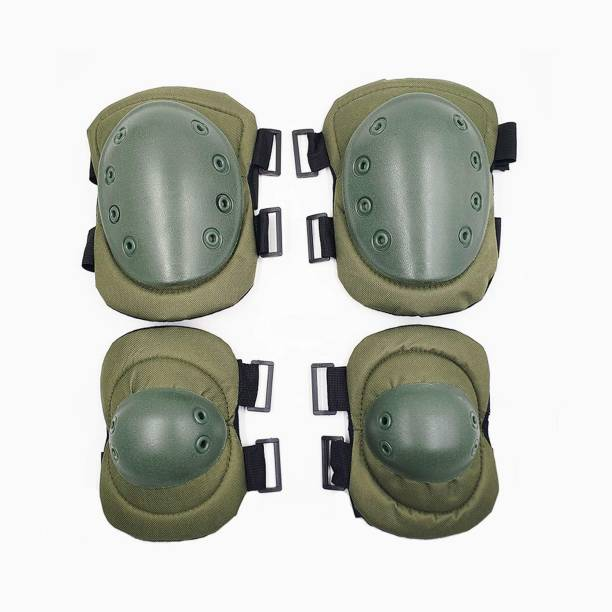 SHAFIRE Knee Pads Elbow Pad Protective Gear 4 in 1 Set for CS Paintball Game Biking Skating (Army Green) Knee Guard Free Green