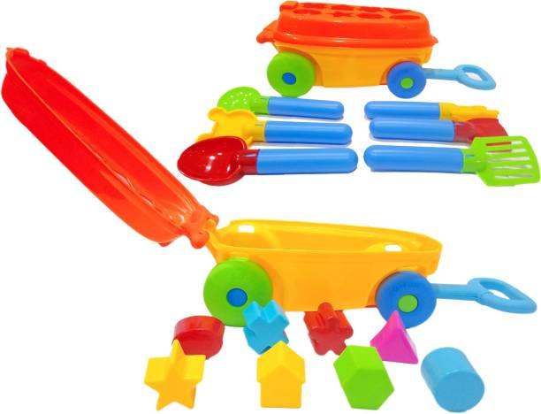 Miss & Chief Trolly Beach and Garden Toy set with Blocks and accessories