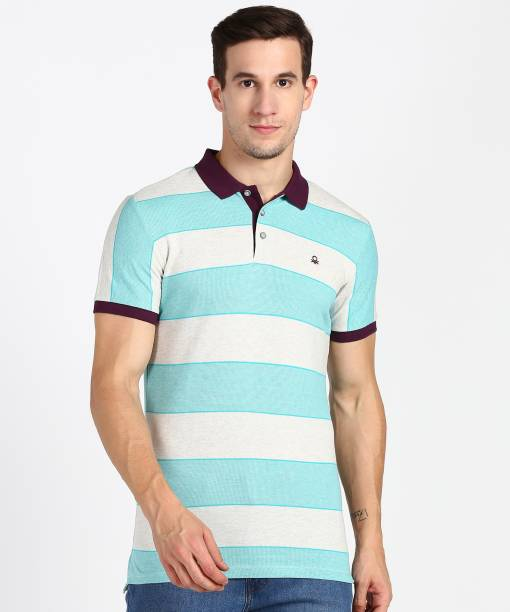 United Colors of Benetton. Striped Men Polo Neck Green, Grey T-Shirt