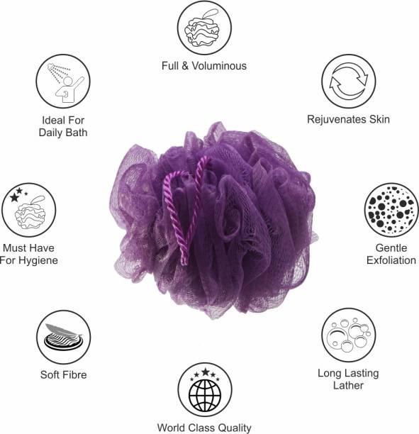 GUBB HAIR BRUSH & BATH COMBO (Vent Hair Brush for blow dry, Shower Caps 4s & Lilac Loofah Sponge)