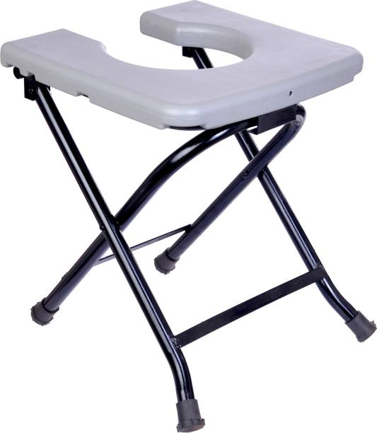 Woolly Fox Portable / Folding Commode Stool Base MS Top PVC Squre Commode Chair