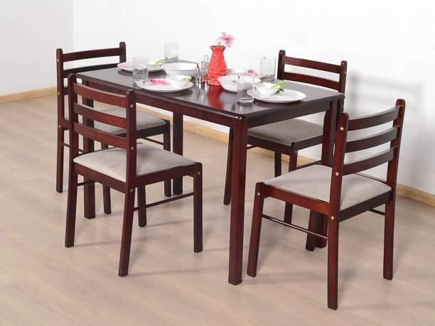 Suncrown Furniture Sheesham Wood Dining Set for Living Room (4 Seater, 4 Chair & Table (Brown) Solid Wood 4 Seater Dining Set