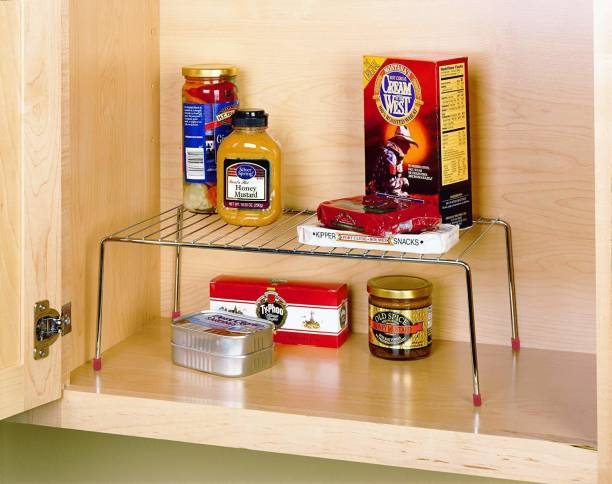 Impulse Stainless Steel Multipurpose Dish Rack/Storage Shelves for Kitchen Cabinets/Plate Stand/Utensil Rack (Chrome-Silver) Stainless Steel Wall Shelf