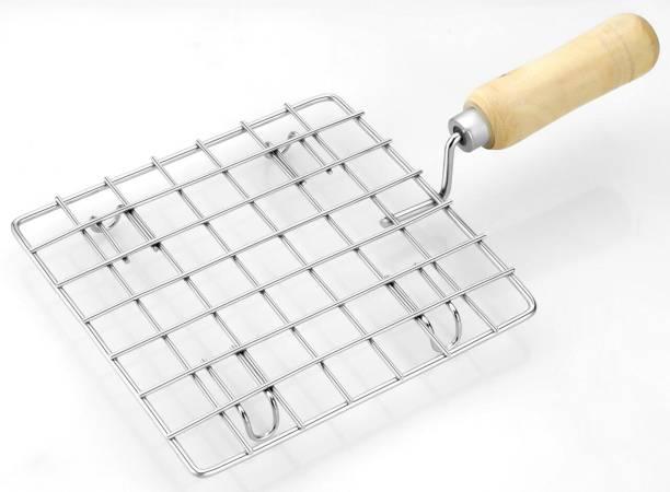 Rotek Stainless Steel Round Wooden Handle Jali Papad Maker Roti Roaster 0.4 kg Roaster