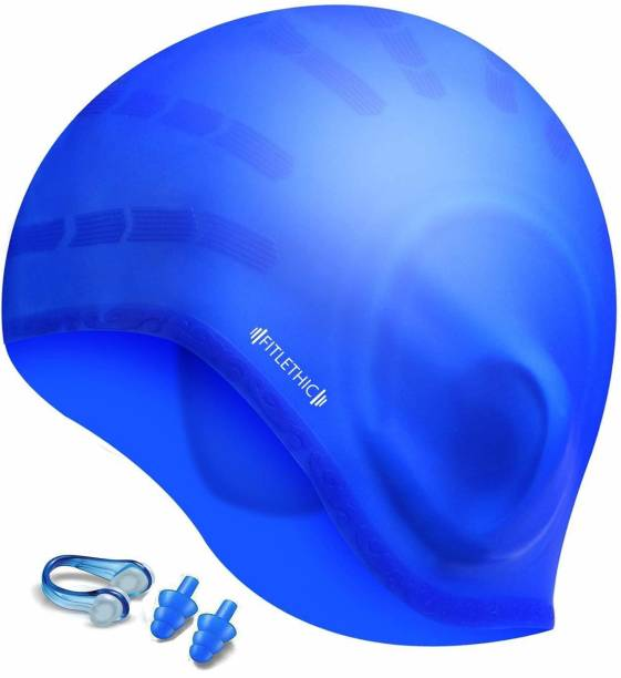 FITLETHIC Swim Cap with Ear Protection 3D Ergonomic Design with Nose Clip Swimming Cap