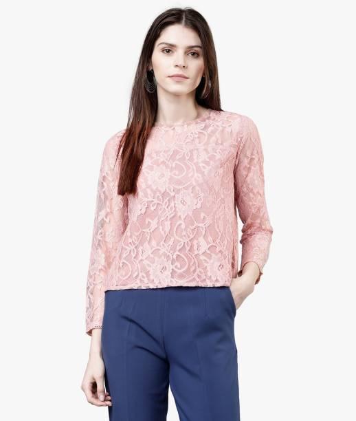 Tokyo Talkies Casual Regular Sleeve Self Design Women Pink Top