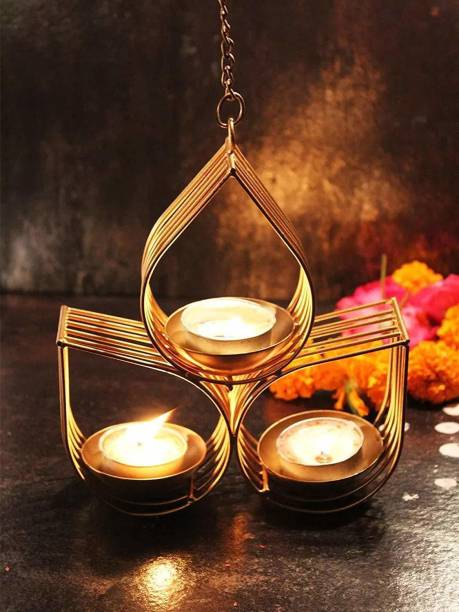 TIED RIBBONS Hanging Metal Tealight Candle Christmas Holder for Decoration Iron 3 - Cup Tealight Holder Set
