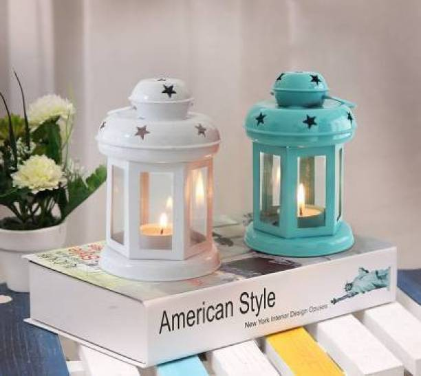 TIED RIBBONS Tea Light Candle Holder Lantern for Diwali, Christmas Decoration Iron 2 - Cup Tealight Holder Set