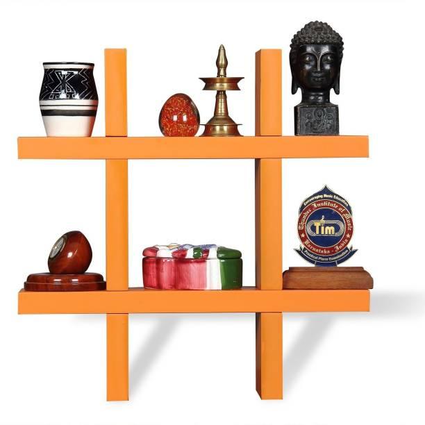Karam Collections Ted Wall Shelf (Orange) Engineered Wood Display Unit
