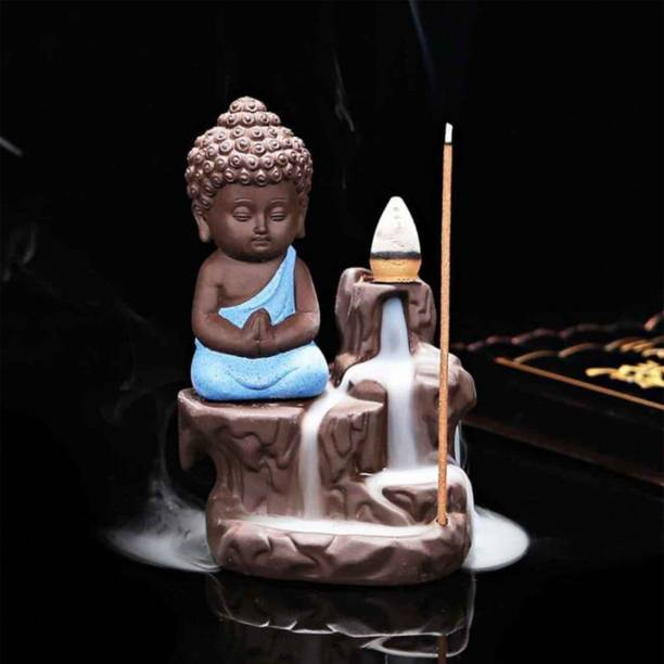 BECKON VENTURE Handicrafted Meditating Monk Buddha Smoke Backflow incense burner with 10 Smoke Backflow Incense Cone in Incense Sticks|buddha idols|smokeBuddha statue|Lord Buddha Idols for Home Decor|table decorations items| home decor in Showpieces &Figurines|Buddha Statue for Car Dashboard, Gifts And Home & Showpieces & Figurines|Statues|statue for car|statue of gods|Showpieces for gift|Showpieces in home|Smoke waterfall fountain (BlACK)) Polyresin Incense Holder